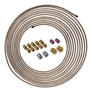25 Ft 3 16 Copper Nickel Brake Line Tubing Coil And Fitting Kit Sae Inverted