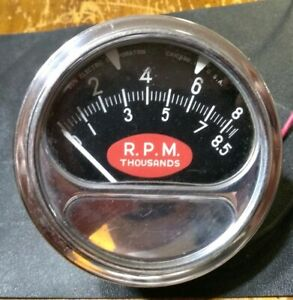 Vintage Sun Rc 85 8 500 Rpm Tachometer football Dial 50s 60 s Hot Rod Custom