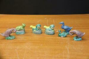 Collection Of Old Miniature Chinese Porcelain Fu Dogs Ducks And Cat 7pc