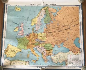 Vintage Europe Roll Up Map Denoyer Geppert School Pull Down H35