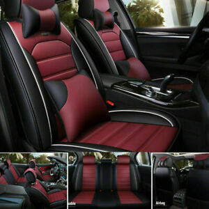 Us Car Seat Cover Protector cushion Front rear Full Set Top Pu Leather Interior