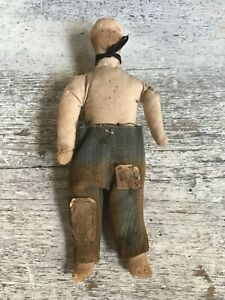 Aafa Early Primitive Prairie Farm Childs Church Double Faced Boy Cloth Rag Doll
