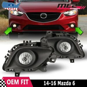 For 13 15 Mazda 6 Pair Oe Direct Factory Fit Fog Light Bumper Kit Clear Lens