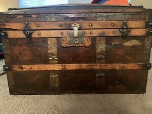 Antique Steamer Trunk Large High End Vintage Dome Top Chest W Leather Handles