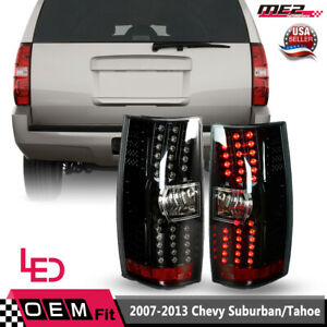 Fits 07 14 Chevy Suburban Tahoe Led Tail Brake Lights Glossy Black Clear Lens