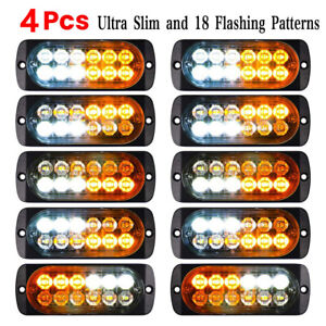 Strobe Emergency Lamps 12 Led Surface Mount Flashing Lights For Truck Car Pickup