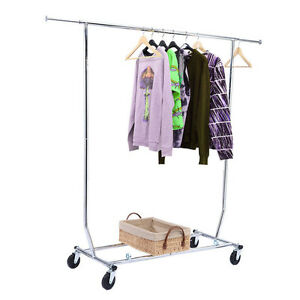 Commercial Chrome Single Rail Clothing Garment Rolling Collapsible Rack H