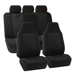 Car Seat Covers Airbag Compatible Split Bench Black Full Set Universal Fit