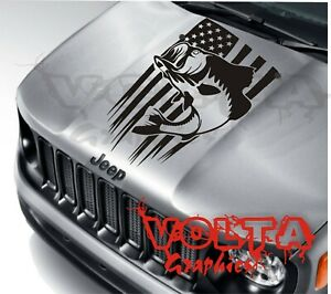 Vinyl Hood Decal Compatible With Jeep Renegade Bass Fishing American Flag Usa