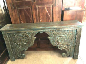 Vintage Blue Console Decorative Wood Carved Fireplace Accent Mantle Old World