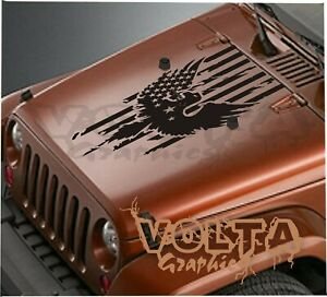 Vinyl Hood Decal Compatible With Jeep Wrangler American Flag Eagle Graphic