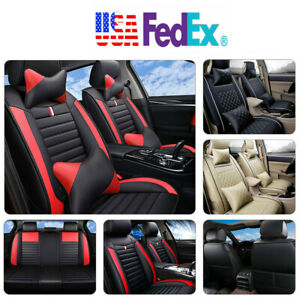 Universal 5 seats Full Set Car Suv Seat Cover pillows Full Surrounded Pu Leather