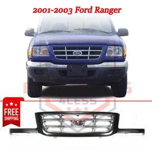 Grille Black Shell W Chrome Insert Plastic For 2001 2003 Ford Ranger