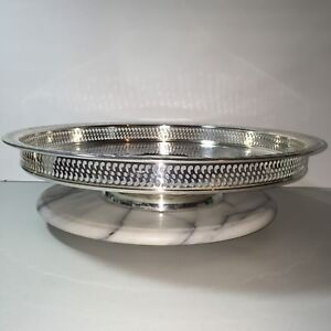 Silverplated Gallery Edge Lazy Susan Turntable 15 Spring Flower Tray Wm Rogers