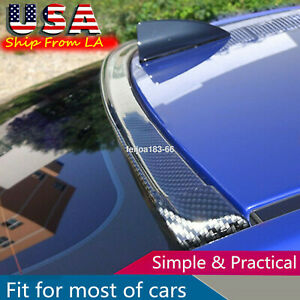 Universal Carbon Fiber Spoiler Wing Rear Sunroof Window Tail Lip Trim Sticker