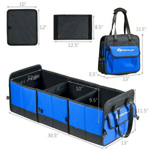 Car Trunk Organizer Collapsible Multi compartments Cargo Storage Container Blue