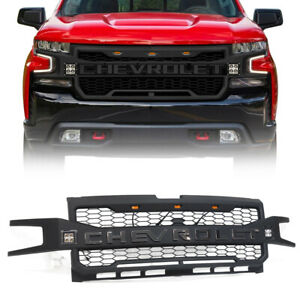 Black Front Grille For Chevrolet Silverado 1500 2019 2020 With 3 2 L