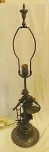Art Nouveau Bronzed Metal 30 Table Lamp Harvest Woman With Basket And Plow