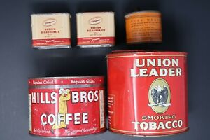 Mixed Lot of 5 Vintage Tin Cans