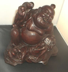 Asian Brown Box Wood Carved Buddha Babies Figurine Glass Eyes Antique