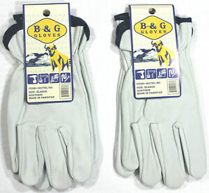 Two New Pair B G Men s Xlarge Goatskin Leather Work Gloves Unlined light Grey