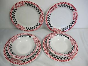 Coca Cola Dinnerware Gibson Dinner Plates Red White Checkered