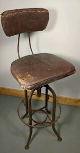 Vintage Toledo Metal Wood Industrial Adjustable Stool Original Cushions Uhl