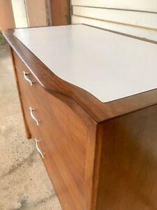 Professionally Restored Drexel Profile 3 Drawer Chest W Rare White Laminate Top