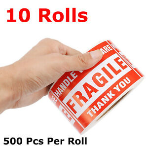 5000pcs 3 x5 Fragile Stickers Handle With Care Warning Mailing Shipping Labels