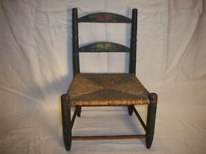 Early Childs Hand Painted Small Chair Age Darkened Blue