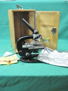 Vintage Carl Zeiss Standard Microscope 5 Objectives Wooden Case