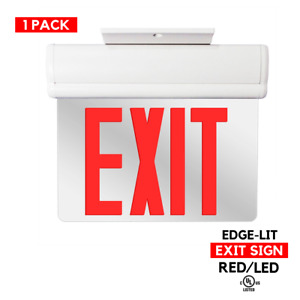 1 Pack Red Led Emergency Exit Light Sign Glass Edge Lit Battery Backup Ul924