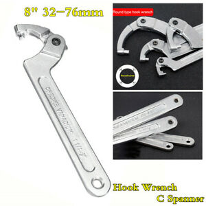 Motorcycle Adjustable 8 Hook Pin Wrench Spanner C Spanner Hand Tool 32 76mm