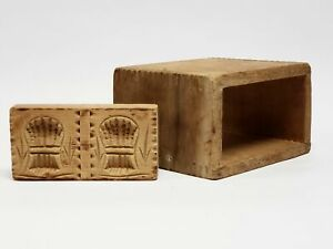 Vintage Carved Wood Block Butter Mold And Dovetail Box Sheaves Of Wheat