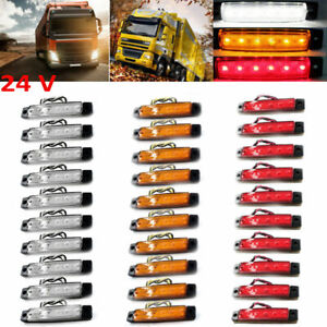 24v 30pcs Side Marker Car Truck Trail 6 Led Lights Signal Lamp Red White Yellow