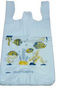 Lot 5000 Fish Plastic T shirt Shopping Bags For Animals And Pets Stores Large