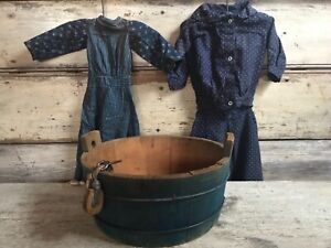 Aafa Early Primitive Folky Americana Farm Childs Blue Wash Tub Clothesline Pully