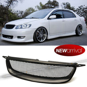 For 03 07 Corolla Abs Glossy Black Metal Mesh Front Hood Grill Grille Fits 2004 Corolla