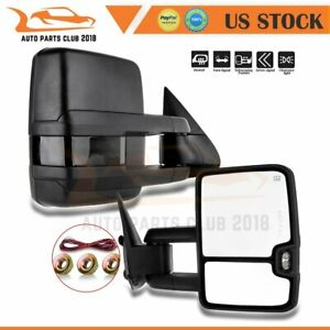 For 1999 02 Chevrolet Gmc Pair Power Signal Heated Tow Mirrors Black