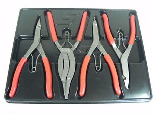 Snap On Srp400b 4 Piece Red Handle Snap Ring Pliers Set W Holder