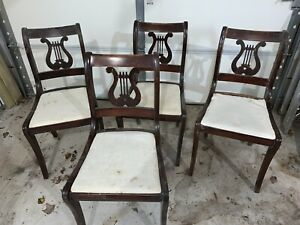 Mahogany Duncan Phyfe Harp Lyre Back Dining Chairs Set Of 4