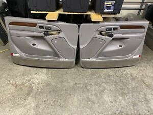 02 Escalade Silverado Leather Front Door Trim Panels Pewter Gray Wood Bose