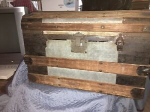 Antique Steamer Trunk Vintage Victorian Dome Top Wedding Chest