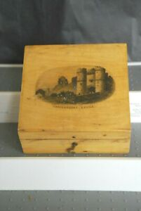 Scottish Mauchline Ware Wood Box W Castle Advertising Brook S Sewing Cottons