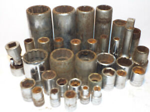 34pc Mixed Lot S K Sk Wayne 1 2 3 8 1 4 Drive Sockets Sae Mm