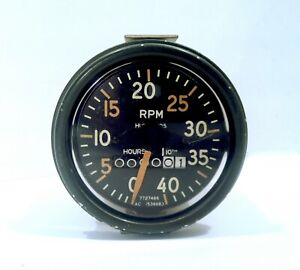 Vintage 1940 S 50 S Ac Tachometer 4000 Rpm Hour Meter W 0 Hours Showing