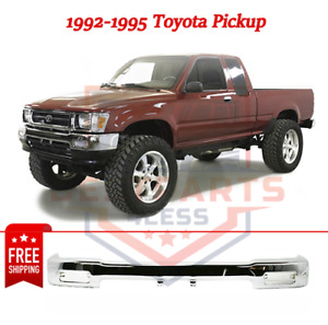 New Front Bumper Chrome Steel For 1992 1995 Toyota Pickup