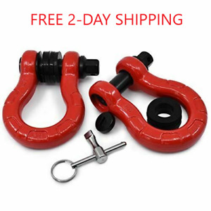 Gearamerica Uber D Ring Shackles With Anti Theft Lock red 2pk 80 000 Lbs Mbc