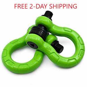 Gearamerica Uber D Ring Shackles With Anti Theft Lock green 2pk 80 000 Lbs
