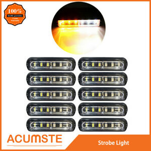 10pc Super Bright 6 Led Waterproof Car Truck Flash Strobe Light Drl Amber white